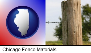 Chicago, Illinois - a fence, constructed of wooden posts and barbed wire