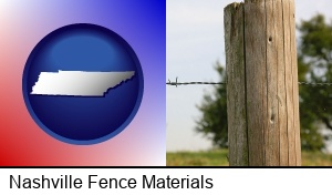 Nashville, Tennessee - a fence, constructed of wooden posts and barbed wire