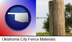 Oklahoma City, Oklahoma - a fence, constructed of wooden posts and barbed wire