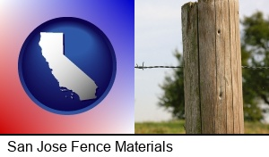 San Jose, California - a fence, constructed of wooden posts and barbed wire
