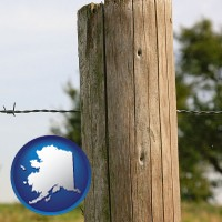 ak map icon and a fence, constructed of wooden posts and barbed wire