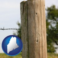 me map icon and a fence, constructed of wooden posts and barbed wire