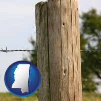 ms map icon and a fence, constructed of wooden posts and barbed wire