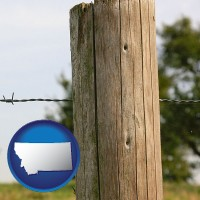 mt map icon and a fence, constructed of wooden posts and barbed wire
