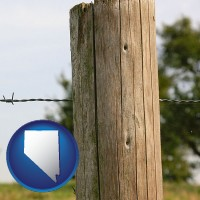 nv map icon and a fence, constructed of wooden posts and barbed wire