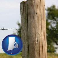 ri map icon and a fence, constructed of wooden posts and barbed wire