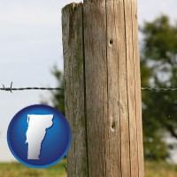 vt map icon and a fence, constructed of wooden posts and barbed wire